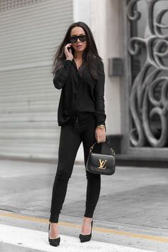 All black in sweats and heels
