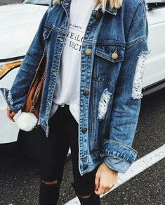 44 Flawless Outfit Ideas How To Wear Denim Jacket, Mode Outfits, Trendy Outfits, Fashion Outfits, Fashion Clothes, Fall Winter Outfits, Autumn Winter Fashion, Fashion Fall, Fashion Trends, Womens Fashion
