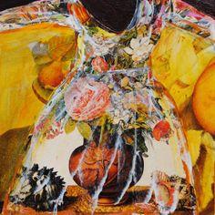 "6"" x6"" mixed media on wood panel Janet Taylor Pickett"