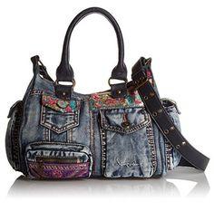 #Desigual Tasche Jeans - Modell Bols London Etnic Deluxe. Muster: floral, ethnisch, blau.