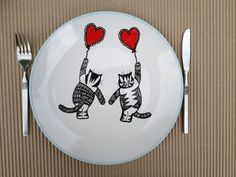 plates with cats on | Hand painted plate Cats dinner plate hand paintedTitle by artdp, £19 ...