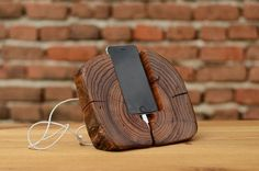 Beautiful iPhone stand, handmade from gorgeous recycled elm wood. The stand fit to iPhone 6, iPhone 5, iPhone 4 and phones with similar sizes. Add a