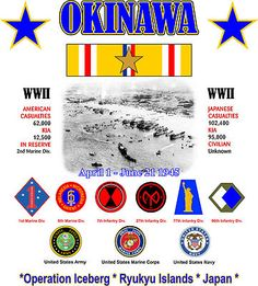 AMERICAN CASUALTIES* 62,000* KIA 12,500* 2ND MARINE DIVISION WAS HELD IS RESERVE THROUGHOUT THE CAMPAIGN. JAPANESE CASUALITIES* 102,400* KIA  95,000* ESTIMATED CIVILIAN/ OKINAWAN CASUALTIES 75,000AMERICAN DIVISIONS THAT FOUGHT IN THE OKINAWA BATTLE: 1ST MARINE DIVISION* 6TH MARINE DIVISION* 7TH INFANTRY DIVISION*27TH INFANTRY DIVISION* 77TH INFANTRY DIVISION & 96TH INFANTRY DIVISION.    THE ARMY, USMC & NAVY ALL CONTRIBUTED TO THE VICTORY, WHICH WAS THE LAST MAJOR BATTLE OF WORLD WAR II