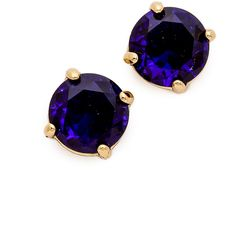 Kate Spade New York Cueva Rosa Stud Earrings - Sapphire (64 CAD) ❤ liked on Polyvore featuring jewelry, earrings, accessories, brincos, blue, gold filled stud earrings, blue jewelry, sapphire earrings, 14 karat gold earrings and cushion cut earrings