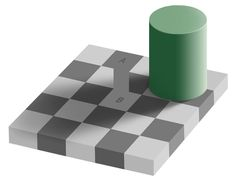 An optical illusion. The square A is exactly the same shade of grey as square B. See checker shadow illusion. Types Of Optical Illusions, Color Illusions, Illusions Mind, Art Optical, Optical Illusion Dress, Illusion Art, Illusion Tricks, Illusion Pictures, Color Vision