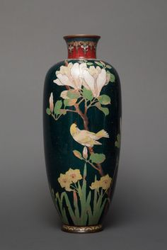 Japanese Cloisonné Vase with Floral and Bird Motif