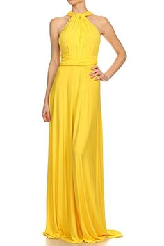 12 Ami Solid Convertible Multi Way Long Maxi Dress Yellow Medium $45.00	(On sale from $80.00)