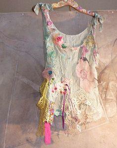 SUMMER TIME Beautiful Boho Country Top Hippi  Vintage Antique Lace Pink Velvet Rose  Floral. $129.00, via Etsy.