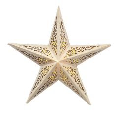 Wooden 5 Point Star Decoration W/Led