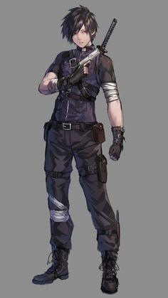 Gloves grey_background gun handgun highres holding holding_gun holding_w Fantasy Character Design, Character Design Inspiration, Character Concept, Character Art, Vector Character, Dnd Characters, Fantasy Characters, Anime Characters Male, M Anime