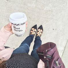 Imagem de coffee, polka dots, and denim Fonte: weheartit.com
