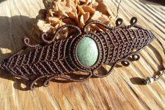 handmade macrame stone bracelet with turquoise by ARTEAMANOetsy