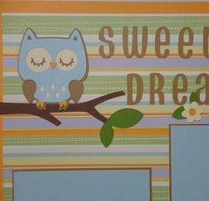 "Baby Boy Scrapbook Page ""Sweet Dreams"" Owl   BabyBearsCottage - Paper/Books on ArtFire"