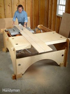 this diy table saw table is the perfect solution for cutting long boards or big sheets of plywood. it's also a handy workbench with storage trays. when finished, a diyer can quickly dismantle the table saw table and store it flat against a wall, saving valuable garage space.