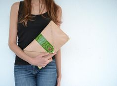 SALES / 20 OFF / Green snakeskin and beige leather by AnaKoutsi, $130.00