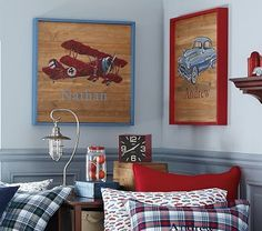I would never pay this for wall decor in a kid's bedroom, but its cute. I've seen similar at Hobby Lobby.   Plane Painted Art on potterybarnkids.com