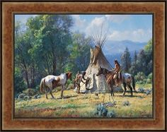Empty Lodge by Martin Grelle Native American Framed LE S/N Canvas Giclee 40x48 #Impressionism