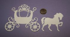2 Horse & Carriage Quickutz Sizzix Scrapbooking Paper Die Cuts / Card Toppers