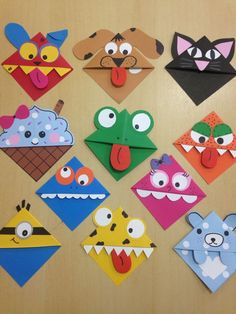 Corner bookmarks Corner bookmarks – Related posts: Ab in die Ecke – DIY woodland animals origami bookmarks {print + fold Valentine Crafts For Kids, Crafts For Kids To Make, Kids Crafts, Art For Kids, Arts And Crafts, Easy Paper Crafts, Homemade Valentines, Kids Diy, Homemade Christmas