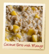 A tropical Saturday morning treat! | Coconut Farro with Mango Porridge | Make it with Nature's Earthly Choice Premium Farro! | www.earthlychoice.com | #Farro #Recipes #EarthlyChoice