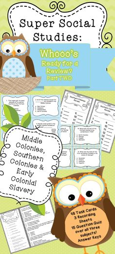 Middle colonies, southern colonies and early colonial slavery review and quiz. 48 task cards, recording sheets and 15 question quiz and all answer keys! 5th grade social studies