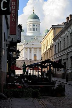 Restaurant on Sofia street, Kruununhaka. Helsinki  Cathedral in backround
