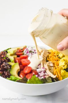 This delicious dairy-free ranch dressing goes perfectly on a vegan cobb salad