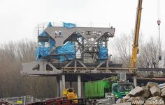 """One of the new sections of the new """"Old Bridge"""" in #Bratislava is hoisted and secured.  Construction teams are working hard on getting the entire bridge complete before the end of the year in order to obtain crucial EU funding."""