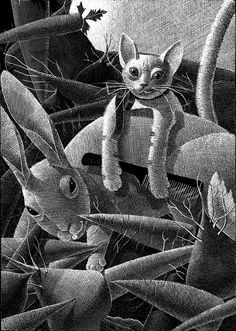 "Alenka Sottler, illustration for ""Pussypaws"" from Svetlanine pravljice (Svetlana's Fairy Tales), written by the popular poet and children's book author Svetlana Makarovič, bilingual Slovene/English edition from Miš, 2009, b tempera on paper."