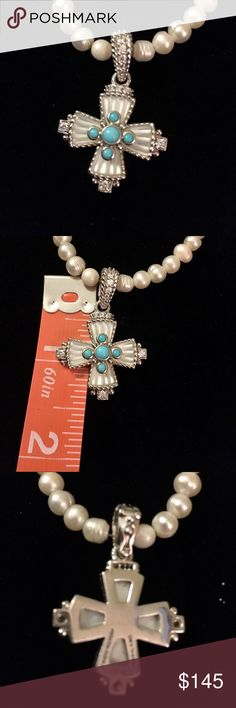 Judith Ripka Sterling, Turquoise & MOP Cross Judith Ripka starling cross pendant / enhancer with mother of pearl and turquoise surrounded by beautiful crystals. Excellent condition  Does not come with pearls and photo Judith Ripka Jewelry Necklaces