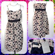 ANTHROPOLOGIE Convertible Abstract Print Dress XS NWT and 50% off Retail! Blurred Shapes Dress from Burlapp for Antropologie! Silk with polyester lining. Navy blue and tan in color. Converts to strapless. Size 0 / XS. Anthropologie Dresses Midi
