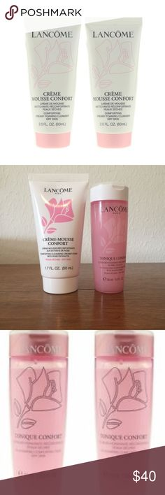 NEW! Lancome 2 Piece Dry Skin Cleanser Set This 2 Piece Lancome set consists of:     2 Crème-Mousse Confort Cleanser (1.6 fl oz)    All items Brand New as received from distributor! Guaranteed Authentic! Lancome Makeup