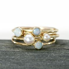 Opal and Akoya Pearl Stacking Rings in 14k by ScarlettJewelry, $668.00