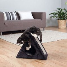 Trixie Pet Products Trixie Lera Fold-and-Store MDF/Sisal Rope/Polyester Cat Condo, Black