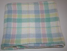 Baby Blanket 100% Cotton Woven Blocks Crib Blue Yellow Pink Green Made in USA #USA #CottonBabyBlanket