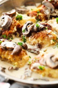 Pan-Fried Creamy Mushroom Chicken @FoodBlogs