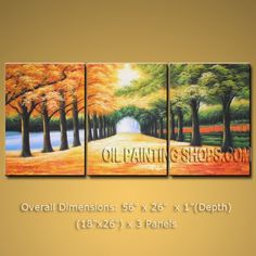 Large Modern Landscape Oil Painting Wall Art Path To Park Trees Autumn 56 x 26 by Bo Yi Studio #1015