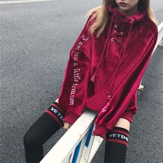 """HOT PRICES FROM ALI - Buy """"Autumn and winter women 's Korean version Harajuku high collar strap loose thicken Sweatshirts"""" from category """"Women's Clothing & Accessories"""" for only 25 USD. Grunge Outfits, Mode Outfits, Fashion Outfits, Fashion Trends, Mens Fashion, Harajuku Fashion, Fashion Styles, Street Fashion, Fashion Ideas"""