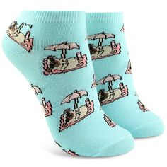 Forever21 Vacation Pug Ankle Socks ($1.90) ❤ liked on Polyvore featuring intimates, hosiery, socks, tennis socks, ankle socks, short socks, forever 21 and cotton socks