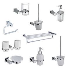 white ceramic or glass square bathroom accessories set chrome finish view more
