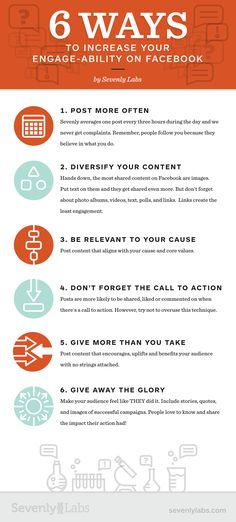 6 manieren om je bereik te vergroten via Facebook  source: http://sevenlylabs.com/6-ways-to-increase-your-engage-ability-on-facebook-infographic/