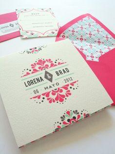 invitations ,  black ,  wedding invitations ,  turquoise ,  Floral ,  fuschia ,  wedding stationery