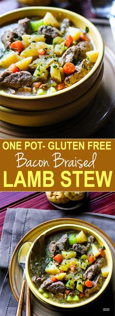 One pot Bacon Braised Lamb Stew! This healthy gluten free Lamb stew is PACKED full of flavor! And I promise it's easy! Let's just say the bacon and lamb combo together do wonders. As do the veggie packed nourishment. Great for family dinners, freezer friendly, and paleo friendly.