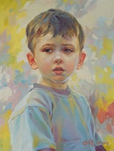 Portrait of a little boy. by Victoria Radionova in the FASO Daily Art Show