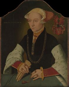 Portrait of a Woman of the Slosgin Family of Cologne Barthel Bruyn the Younger  (German, ca. 1530–before 1610)  Date:     1557 Medium:     Oil on wood Dimensions:     Shaped top, 17 3/4 x 14 1/8 in. (45.1 x 35.9 cm) Classification:     Paintings Credit Line:     The Friedsam Collection, Bequest of Michael Friedsam, 1931 Accession Number:     32.100.50