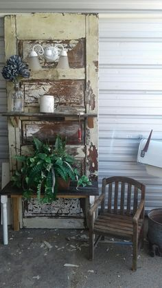Primitive garden shelf