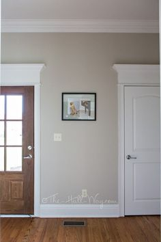 Mud Room with Behr Sculptor Clay and Silky White Trim - A BM Revere Pewter…