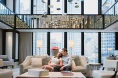 Formal engagement photos in this gorgeous hotel lobby in downtown Chicago by Kari Dawson Photography