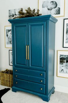 teal blue armoire, peacock blue, blue-green, green-blue, sherwin williams marea baja