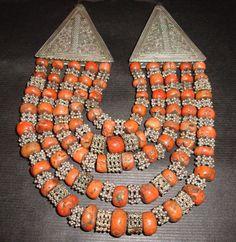 Rare Antique Yemen Silver & Genuine Mediterranean Coral 5 Strand Necklace 374grm in   eBay